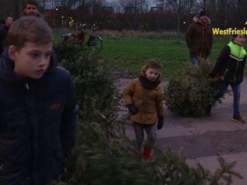 Kerstboom verbranding Nieuwe Wal 2019 in Hoorn